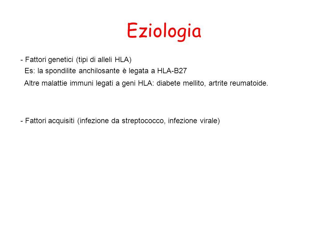 Eziologia - Fattori genetici (tipi di alleli HLA) Es: la spondilite anchilosante è legata a HLA-B27 Altre malattie immuni legati a geni HLA: diabete m