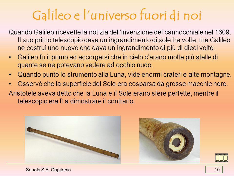 Scuola S.B. Capitanio 10 Galileo e luniverso fuori di noi Quando Galileo ricevette la notizia dellinvenzione del cannocchiale nel 1609. Il suo primo t