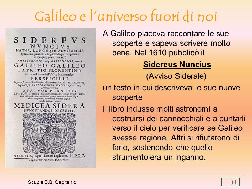 Scuola S.B. Capitanio 14 Galileo e luniverso fuori di noi A Galileo piaceva raccontare le sue scoperte e sapeva scrivere molto bene. Nel 1610 pubblicò