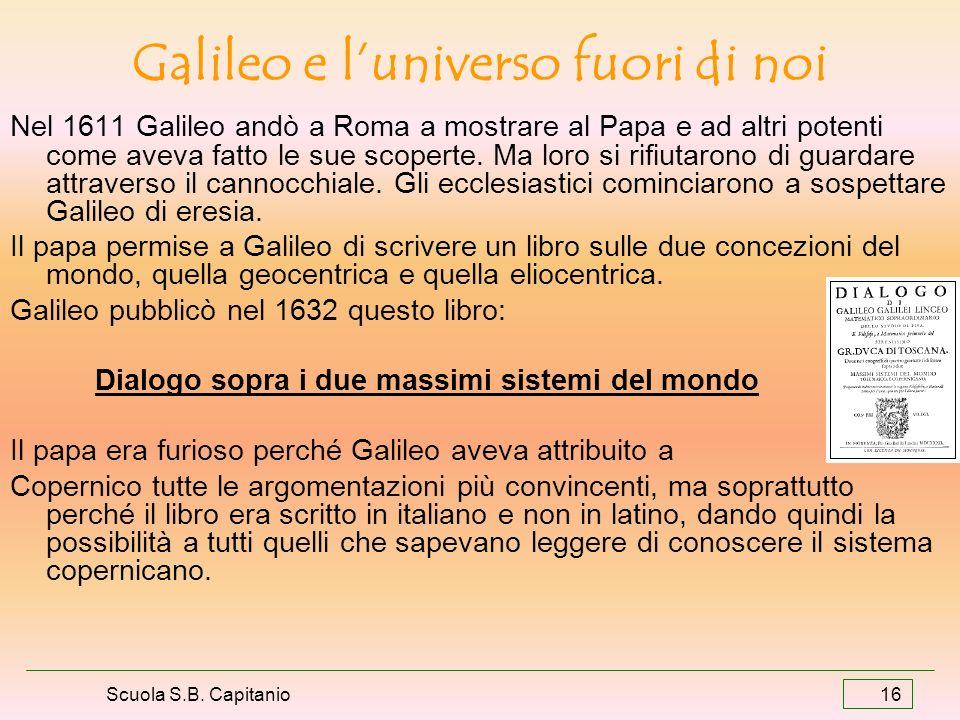 Scuola S.B. Capitanio 16 Galileo e luniverso fuori di noi Nel 1611 Galileo andò a Roma a mostrare al Papa e ad altri potenti come aveva fatto le sue s