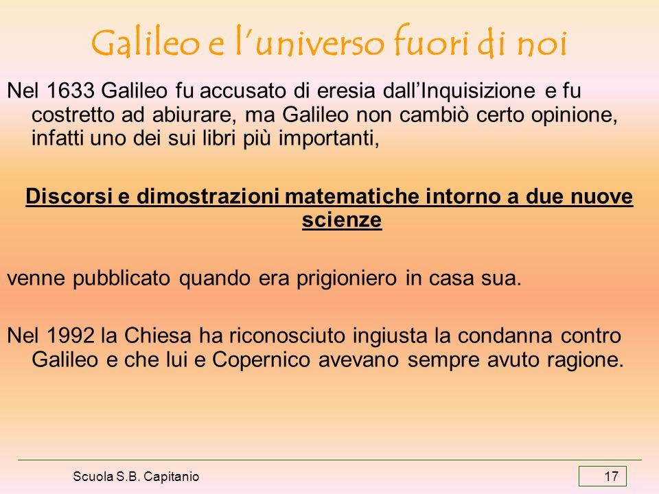 Scuola S.B. Capitanio 17 Galileo e luniverso fuori di noi Nel 1633 Galileo fu accusato di eresia dallInquisizione e fu costretto ad abiurare, ma Galil