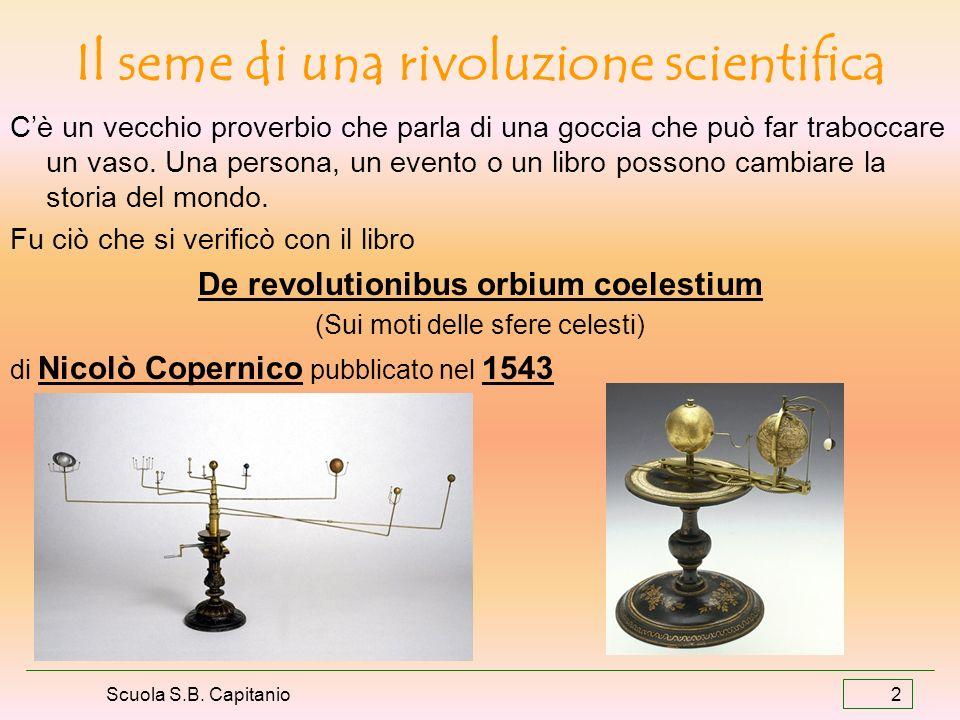 Scuola S.B. Capitanio 2 Il seme di una rivoluzione scientifica Cè un vecchio proverbio che parla di una goccia che può far traboccare un vaso. Una per