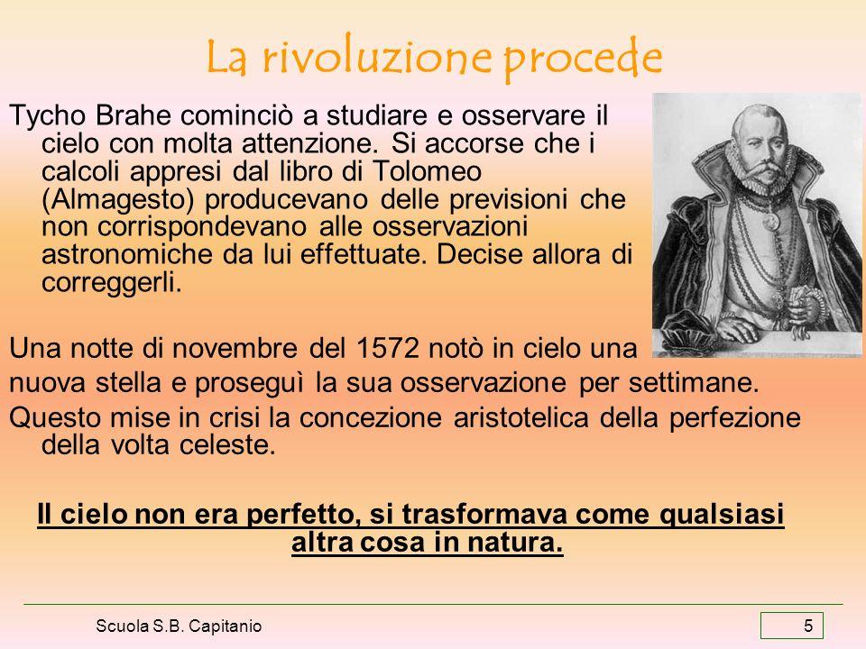 Scuola S.B. Capitanio 5 La rivoluzione procede Tycho Brahe cominciò a studiare e osservare il cielo con molta attenzione. Si accorse che i calcoli app