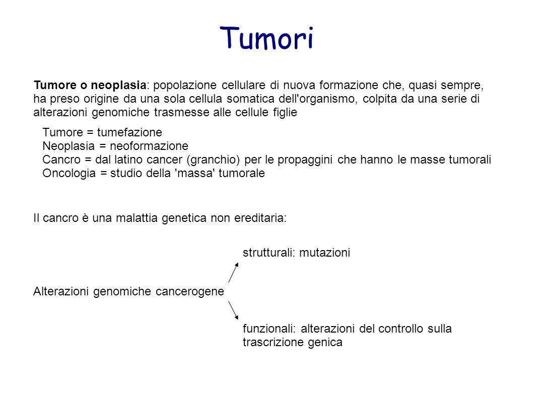 Tumori Tumore o neoplasia: popolazione cellulare di nuova formazione che, quasi sempre, ha preso origine da una sola cellula somatica dell'organismo,