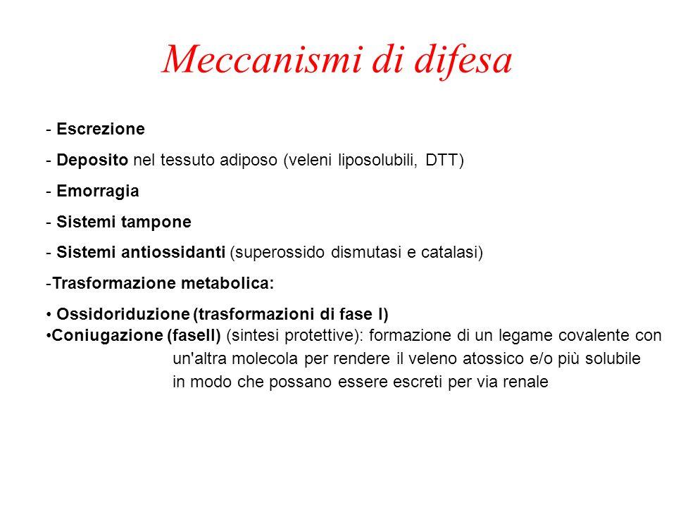 Meccanismi di difesa - Escrezione - Deposito nel tessuto adiposo (veleni liposolubili, DTT) - Emorragia - Sistemi tampone - Sistemi antiossidanti (superossido dismutasi e catalasi) -Trasformazione metabolica: Ossidoriduzione (trasformazioni di fase I) Coniugazione (faseII) (sintesi protettive): formazione di un legame covalente con un altra molecola per rendere il veleno atossico e/o più solubile in modo che possano essere escreti per via renale