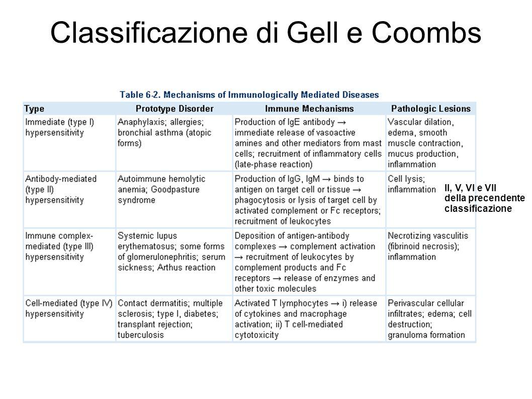 Classificazione di Gell e Coombs II, V, VI e VII della precendente classificazione
