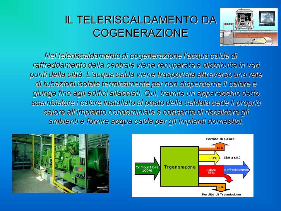 IL TELERISCALDAMENTO DA COGENERAZIONE Nel teleriscaldamento di cogenerazione lacqua calda di raffreddamento della centrale viene recuperata e distribu