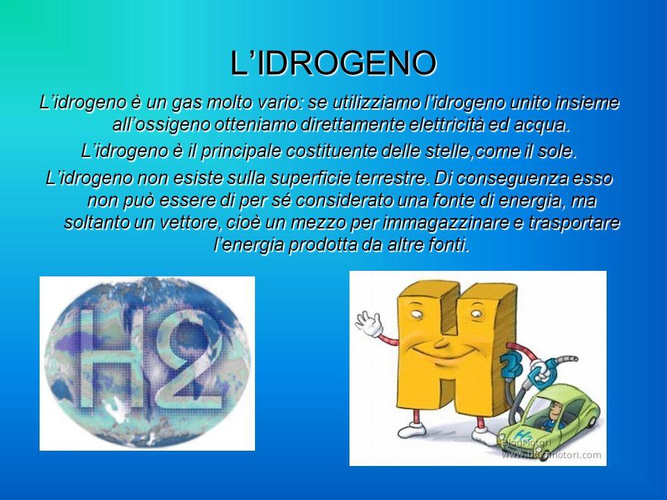 LIDROGENO Lidrogeno è un gas molto vario: se utilizziamo lidrogeno unito insieme allossigeno otteniamo direttamente elettricità ed acqua. Lidrogeno è