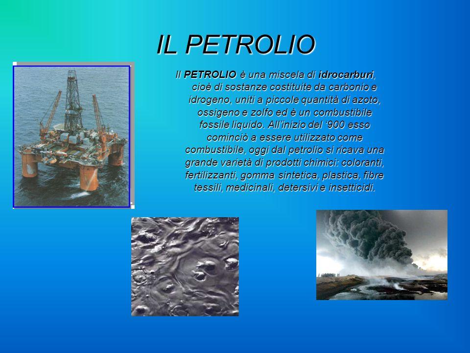 IL PETROLIO Il PETROLIO è una miscela di idrocarburi, cioè di sostanze costituite da carbonio e idrogeno, uniti a piccole quantità di azoto, ossigeno
