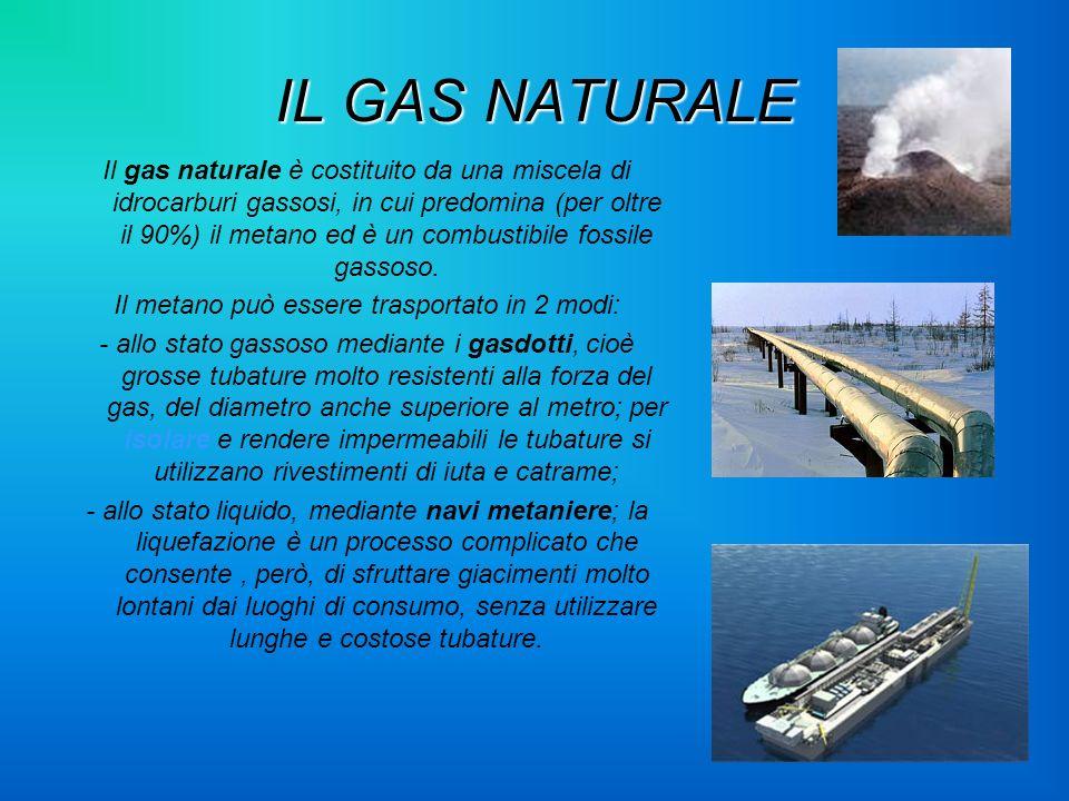 IL GAS NATURALE Il gas naturale è costituito da una miscela di idrocarburi gassosi, in cui predomina (per oltre il 90%) il metano ed è un combustibile
