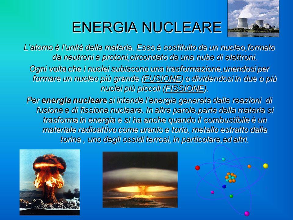 ENERGIA NUCLEARE Latomo è lunità della materia. Esso è costituito da un nucleo,formato da neutroni e protoni,circondato da una nube di elettroni. Ogni
