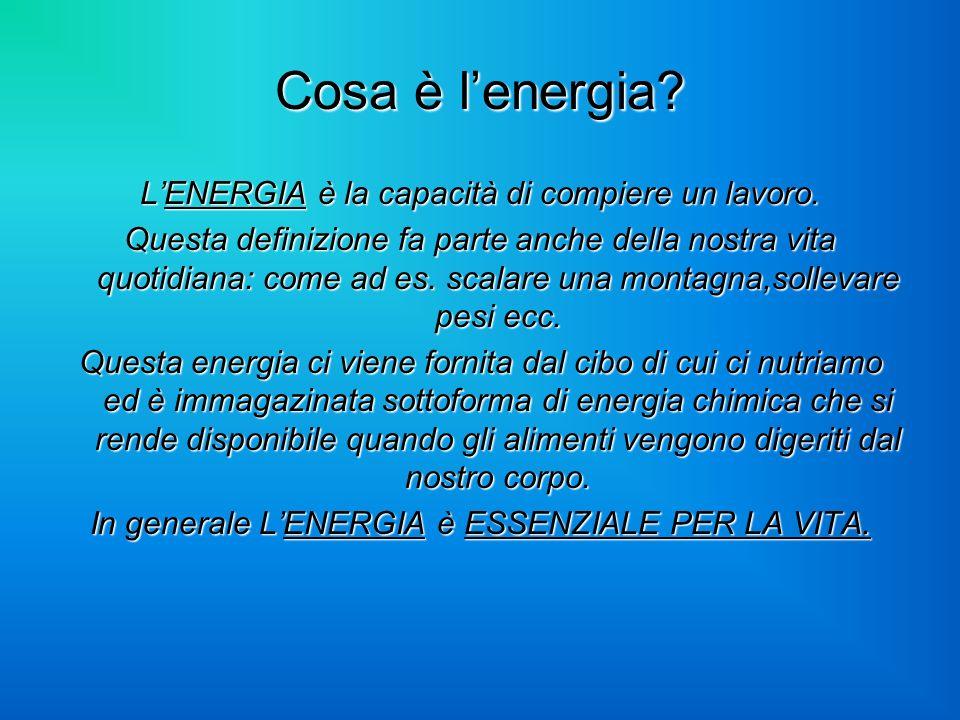 Cosa è lenergia? LENERGIA è la capacità di compiere un lavoro. Questa definizione fa parte anche della nostra vita quotidiana: come ad es. scalare una