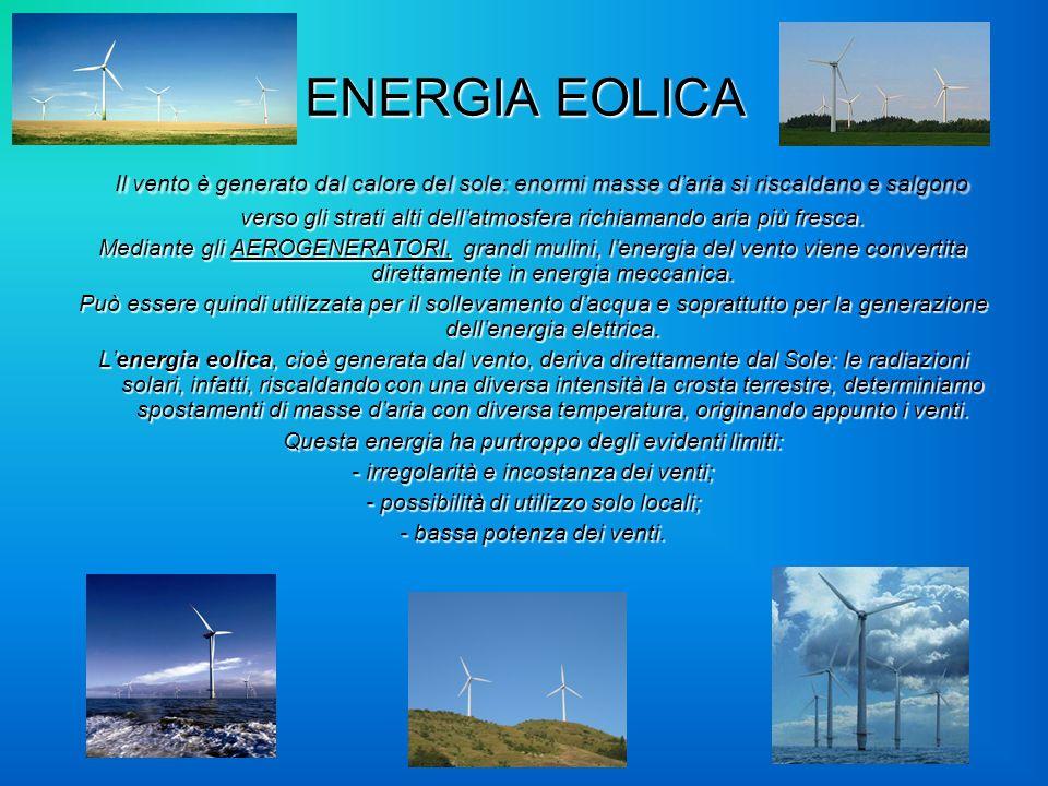 ENERGIA EOLICA I II Il vento è generato dal calore del sole: enormi masse daria si riscaldano e salgono verso gli strati alti dellatmosfera richiamand