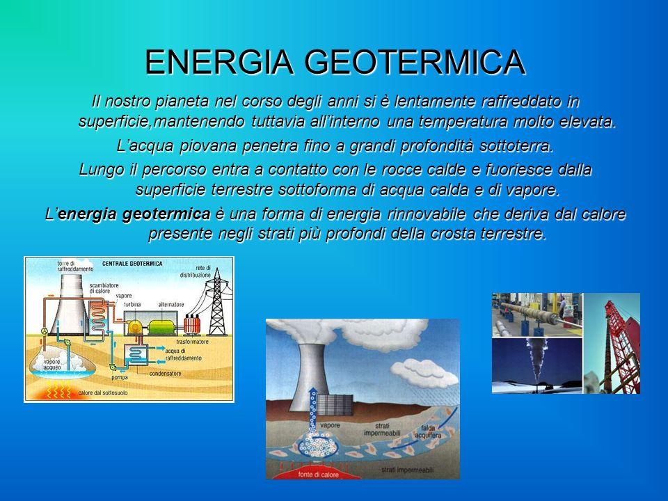 ENERGIA GEOTERMICA Il nostro pianeta nel corso degli anni si è lentamente raffreddato in superficie,mantenendo tuttavia allinterno una temperatura mol