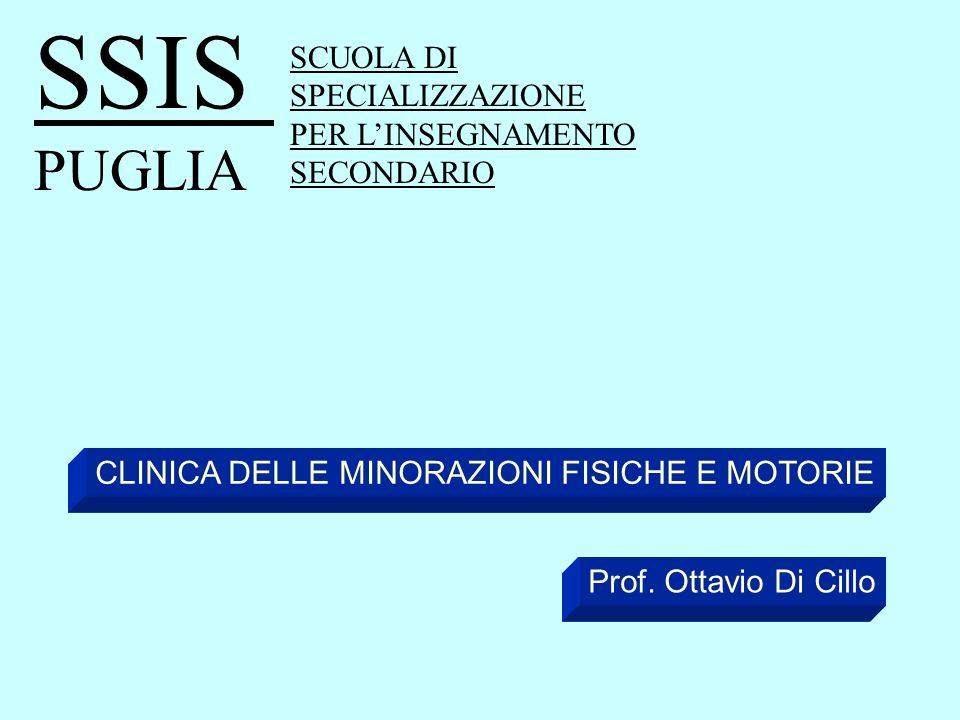 SCUOLA DI SPECIALIZZAZIONE PER LINSEGNAMENTO SECONDARIO SSIS PUGLIA CLINICA DELLE MINORAZIONI FISICHE E MOTORIE Prof. Ottavio Di Cillo