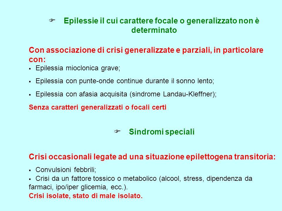 Epilessie il cui carattere focale o generalizzato non è determinato Con associazione di crisi generalizzate e parziali, in particolare con: Epilessia