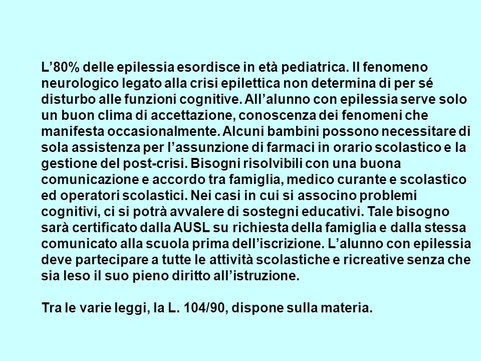 L80% delle epilessia esordisce in età pediatrica. Il fenomeno neurologico legato alla crisi epilettica non determina di per sé disturbo alle funzioni