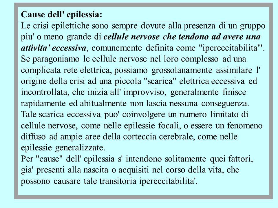 Cause dell' epilessia: Le crisi epilettiche sono sempre dovute alla presenza di un gruppo piu' o meno grande di cellule nervose che tendono ad avere u