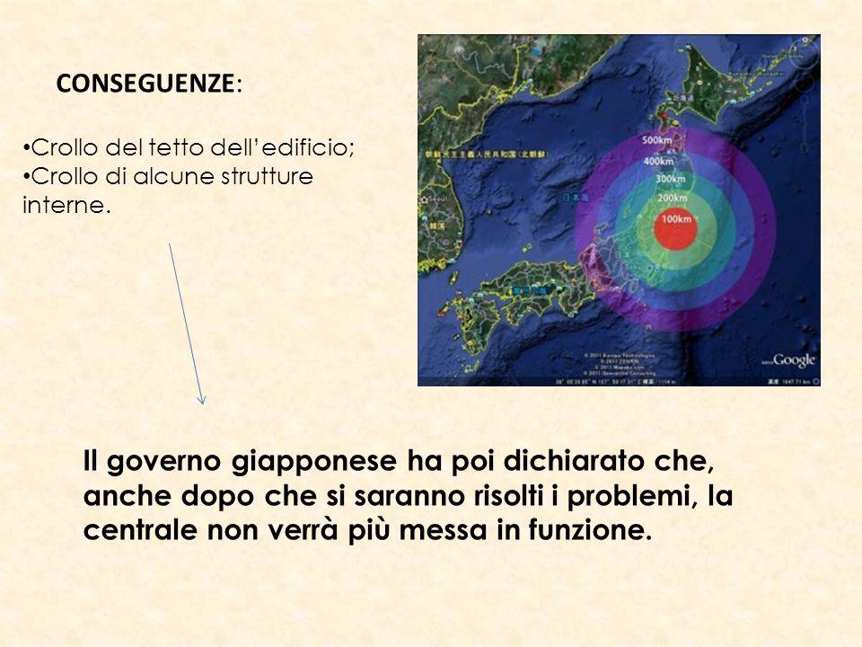 CONSEGUENZE: Crollo del tetto delledificio; Crollo di alcune strutture interne. Il governo giapponese ha poi dichiarato che, anche dopo che si saranno