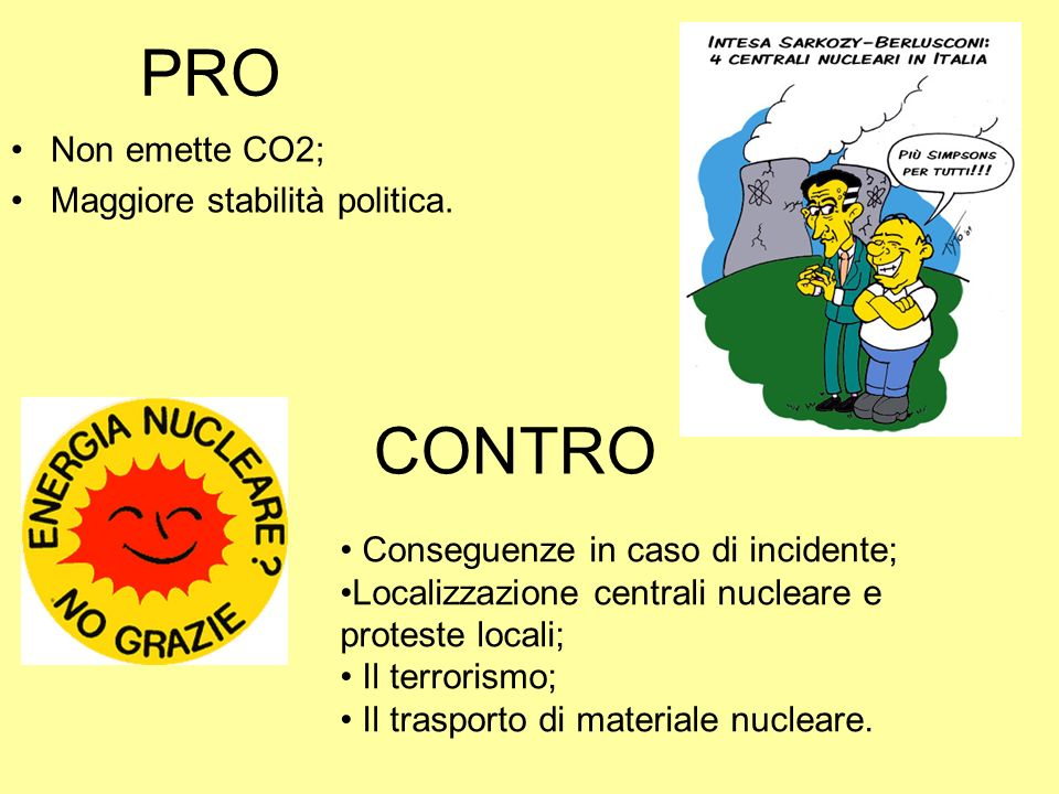 PRO Non emette CO2; Maggiore stabilità politica. CONTRO Conseguenze in caso di incidente; Localizzazione centrali nucleare e proteste locali; Il terro