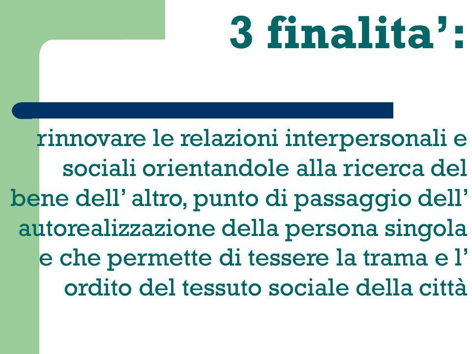 3 finalita: rinnovare le relazioni interpersonali e sociali orientandole alla ricerca del bene dell altro, punto di passaggio dell autorealizzazione della persona singola e che permette di tessere la trama e l ordito del tessuto sociale della città