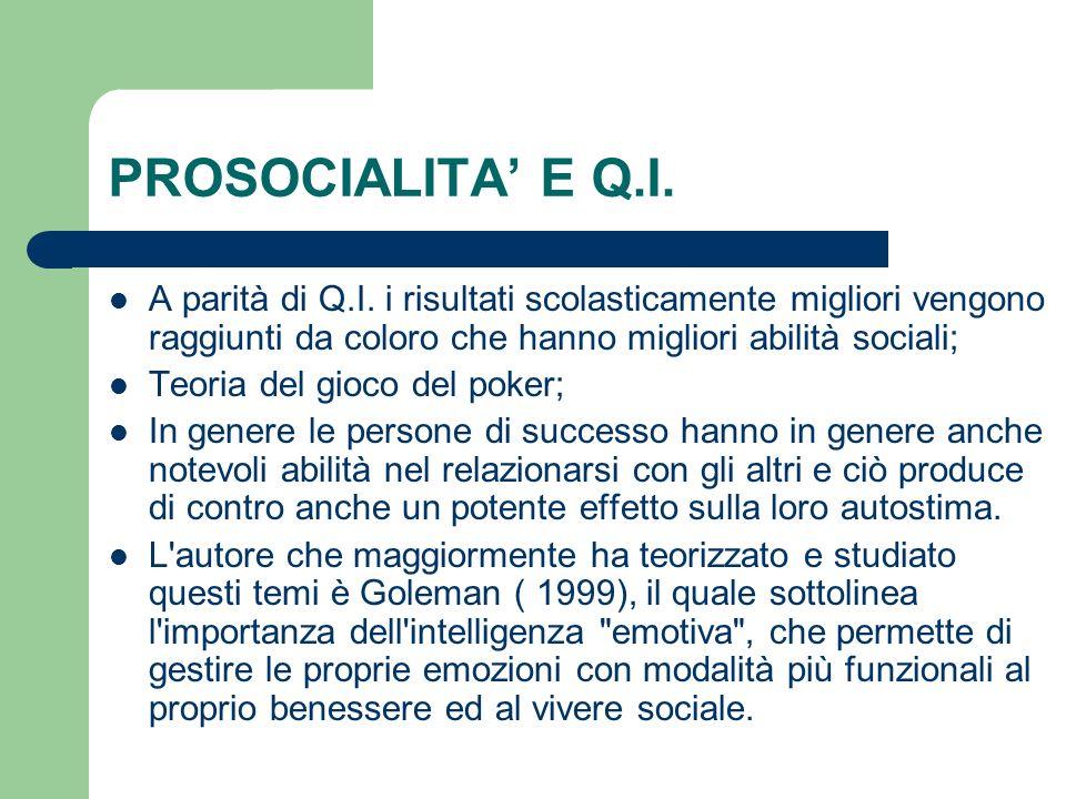 PROSOCIALITA E Q.I.A parità di Q.I.