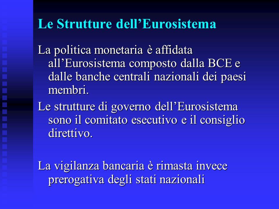 Le Strutture dellEurosistema La politica monetaria è affidata allEurosistema composto dalla BCE e dalle banche centrali nazionali dei paesi membri.