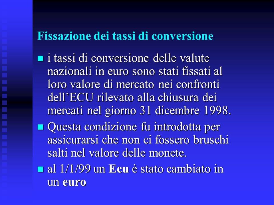 Fissazione dei tassi di conversione i tassi di conversione delle valute nazionali in euro sono stati fissati al loro valore di mercato nei confronti dellECU rilevato alla chiusura dei mercati nel giorno 31 dicembre 1998.