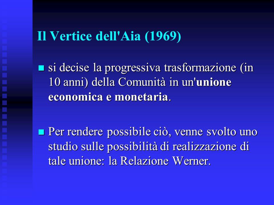 Il Vertice dell'Aia (1969) si decise la progressiva trasformazione (in 10 anni) della Comunità in un'unione economica e monetaria. si decise la progre