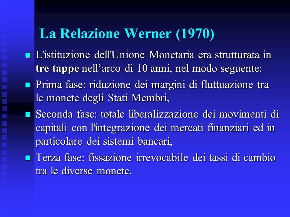 La Relazione Werner (1970) L istituzione dell Unione Monetaria era strutturata in tre tappe nellarco di 10 anni, nel modo seguente: L istituzione dell Unione Monetaria era strutturata in tre tappe nellarco di 10 anni, nel modo seguente: Prima fase: riduzione dei margini di fluttuazione tra le monete degli Stati Membri, Prima fase: riduzione dei margini di fluttuazione tra le monete degli Stati Membri, Seconda fase: totale liberalizzazione dei movimenti di capitali con l integrazione dei mercati finanziari ed in particolare dei sistemi bancari, Seconda fase: totale liberalizzazione dei movimenti di capitali con l integrazione dei mercati finanziari ed in particolare dei sistemi bancari, Terza fase: fissazione irrevocabile dei tassi di cambio tra le diverse monete.