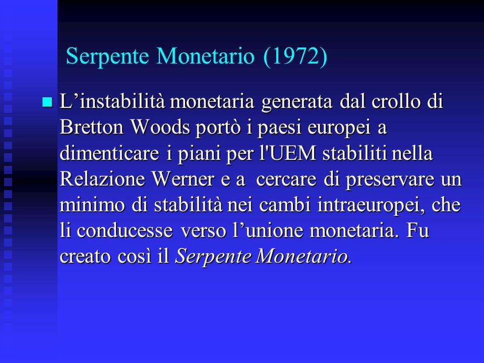 Serpente Monetario (1972) Linstabilità monetaria generata dal crollo di Bretton Woods portò i paesi europei a dimenticare i piani per l UEM stabiliti nella Relazione Werner e a cercare di preservare un minimo di stabilità nei cambi intraeuropei, che li conducesse verso lunione monetaria.
