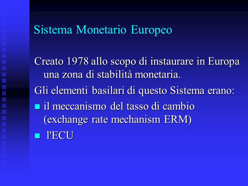 Sistema Monetario Europeo Creato 1978 allo scopo di instaurare in Europa una zona di stabilità monetaria. Gli elementi basilari di questo Sistema eran