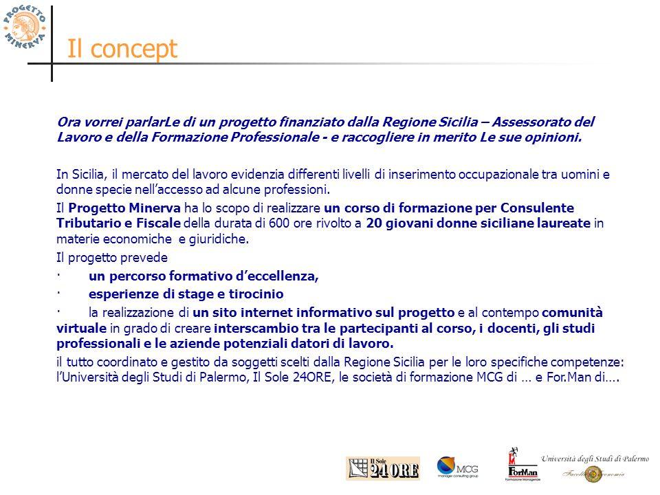 Il concept Ora vorrei parlarLe di un progetto finanziato dalla Regione Sicilia – Assessorato del Lavoro e della Formazione Professionale - e raccogliere in merito Le sue opinioni.
