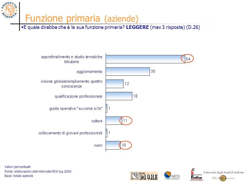Funzione primaria (aziende) Valori percentuali Fonte: elaborazioni dati interviste MCG lug.2006 Base: totale aziende E quale direbbe che è la sua funzione primaria.