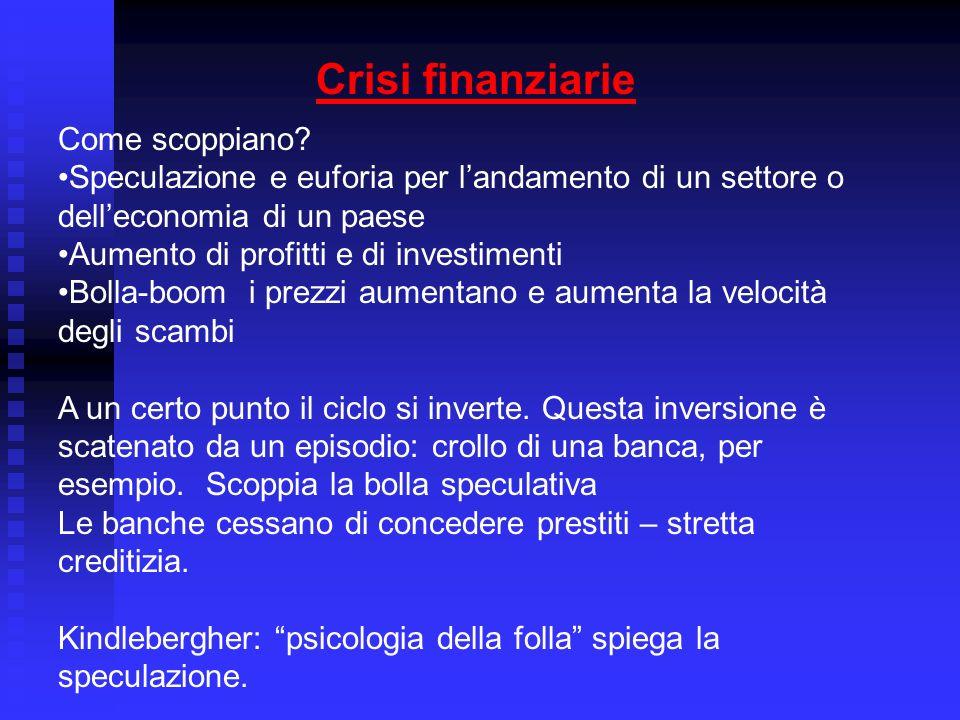 Crisi finanziarie Come scoppiano.