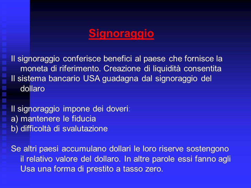 Signoraggio Il signoraggio conferisce benefici al paese che fornisce la moneta di riferimento.