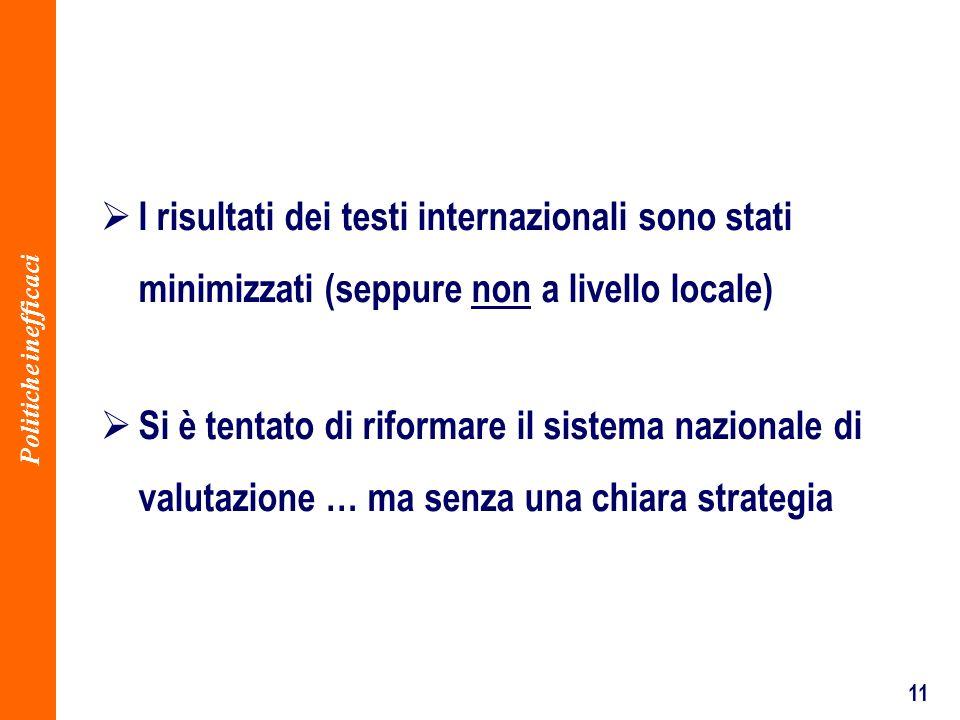 11 I risultati dei testi internazionali sono stati minimizzati (seppure non a livello locale) Politiche inefficaci Si è tentato di riformare il sistema nazionale di valutazione … ma senza una chiara strategia