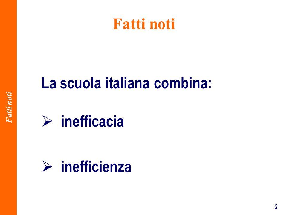 2 La scuola italiana combina: inefficacia inefficienza Fatti noti