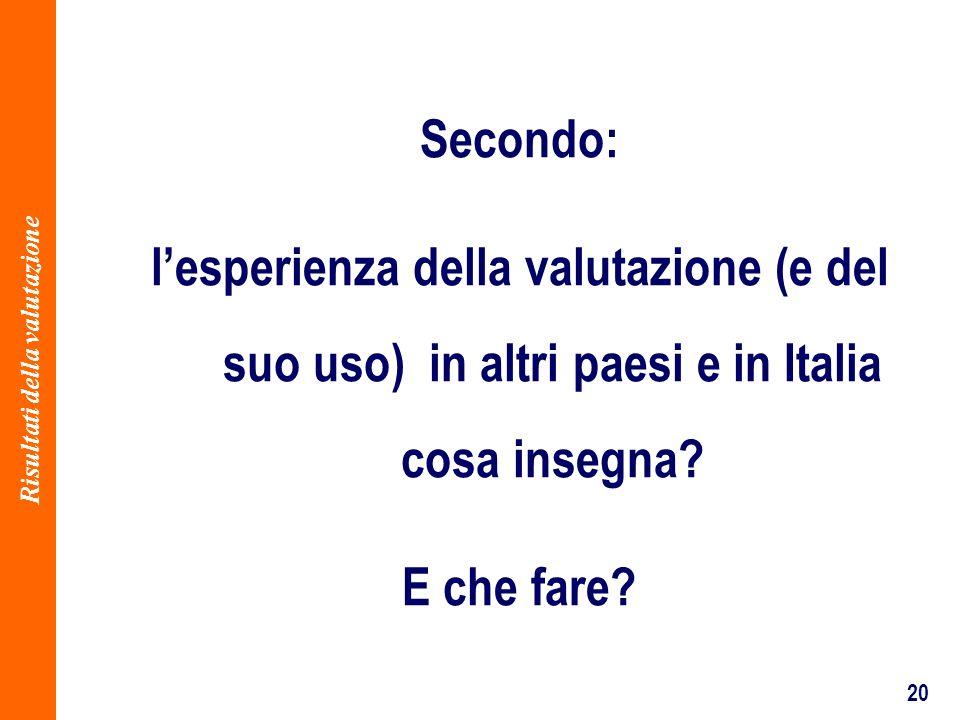 20 Secondo: lesperienza della valutazione (e del suo uso) in altri paesi e in Italia cosa insegna.
