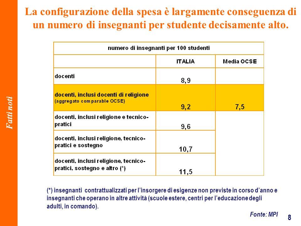 8 La configurazione della spesa è largamente conseguenza di un numero di insegnanti per studente decisamente alto.