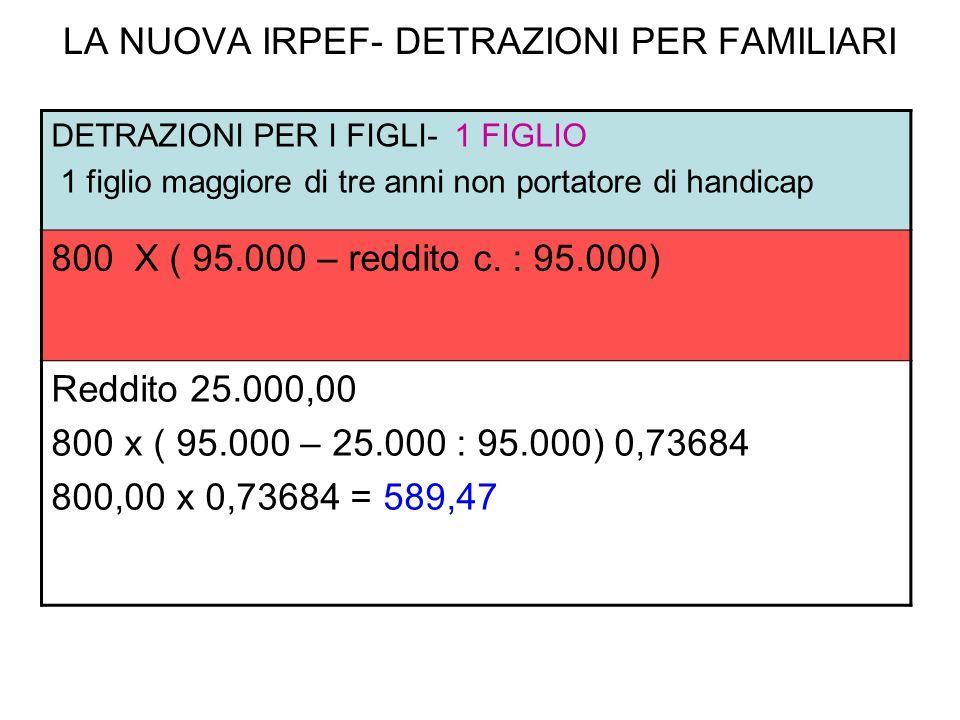 LA NUOVA IRPEF- DETRAZIONI PER FAMILIARI DETRAZIONI PER I FIGLI- 1 FIGLIO 1 figlio maggiore di tre anni non portatore di handicap 800 X ( 95.000 – red