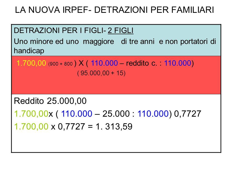 LA NUOVA IRPEF- DETRAZIONI PER FAMILIARI DETRAZIONI PER I FIGLI- 2 FIGLI Uno minore ed uno maggiore di tre anni e non portatori di handicap 1.700,00 (