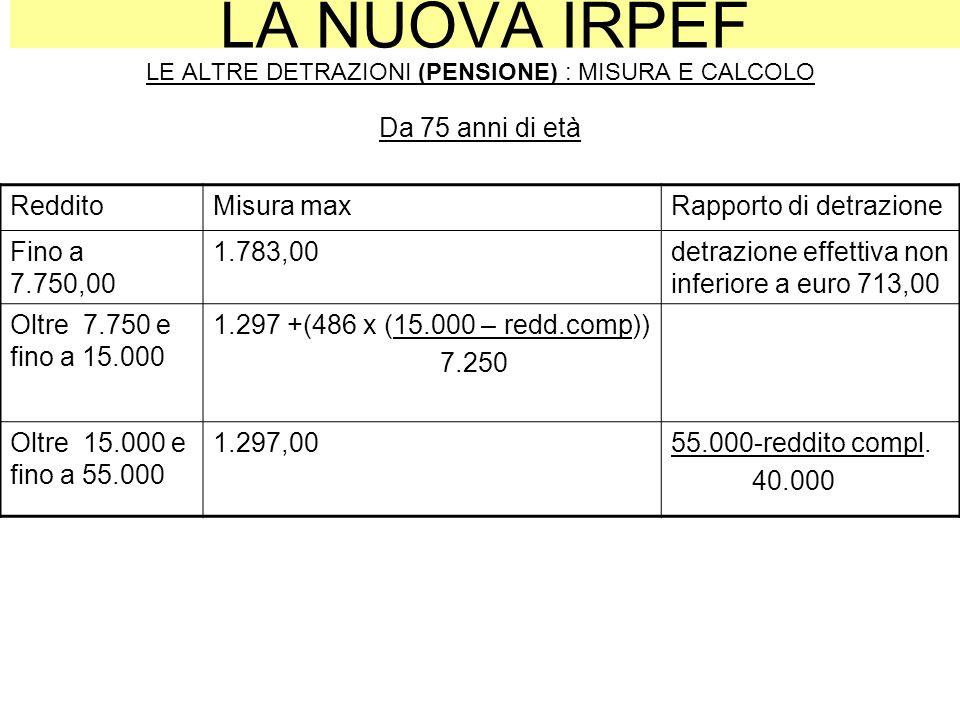 LA NUOVA IRPEF LE ALTRE DETRAZIONI (PENSIONE) : MISURA E CALCOLO Da 75 anni di età RedditoMisura maxRapporto di detrazione Fino a 7.750,00 1.783,00det