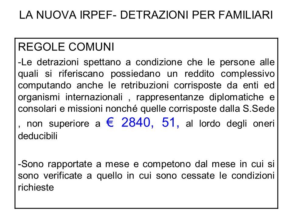 LA NUOVA IRPEF- DETRAZIONI PER FAMILIARI DETRAZIONI PER I FIGLI- 3 FIGLI Uno minore e due maggiori di tre anni e non portatori di handicap 2.500,00 (900 + 800 +800 ) X ( 125.000 – reddito c.