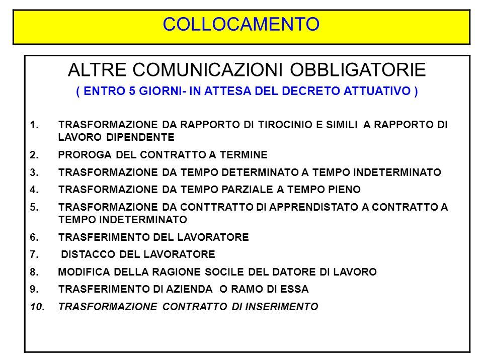 COLLOCAMENTO ALTRE COMUNICAZIONI OBBLIGATORIE ( ENTRO 5 GIORNI- IN ATTESA DEL DECRETO ATTUATIVO ) 1.TRASFORMAZIONE DA RAPPORTO DI TIROCINIO E SIMILI A