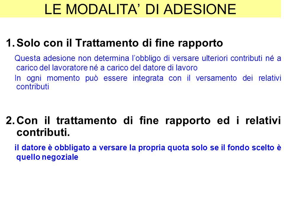 LE MODALITA DI ADESIONE 1.Solo con il Trattamento di fine rapporto Questa adesione non determina lobbligo di versare ulteriori contributi né a carico