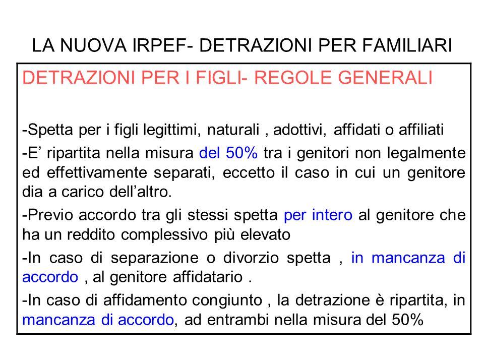 LA NUOVA IRPEF- DETRAZIONI PER FAMILIARI DETRAZIONI PER I FIGLI- REGOLE GENERALI -Nel caso in cui il genitore affidatario o uno dei due genitori, in caso di affidamento congiunto, non possa usufruire in tutto o in parte della detrazione per limiti di reddito, la detrazione è assegnata per intero al secondo genitore, il quale, salvo diverso accordo, sarà tenuto a riversare allaltro rispettivamente il 100% o il 50% della detrazione.
