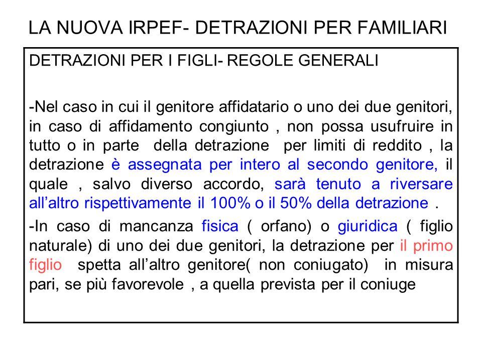 LA NUOVA IRPEF- DETRAZIONI PER FAMILIARI DETRAZIONI PER I FIGLI- 1 FIGLIO 1 figlio maggiore di tre anni non portatore di handicap 800 X ( 95.000 – reddito c.