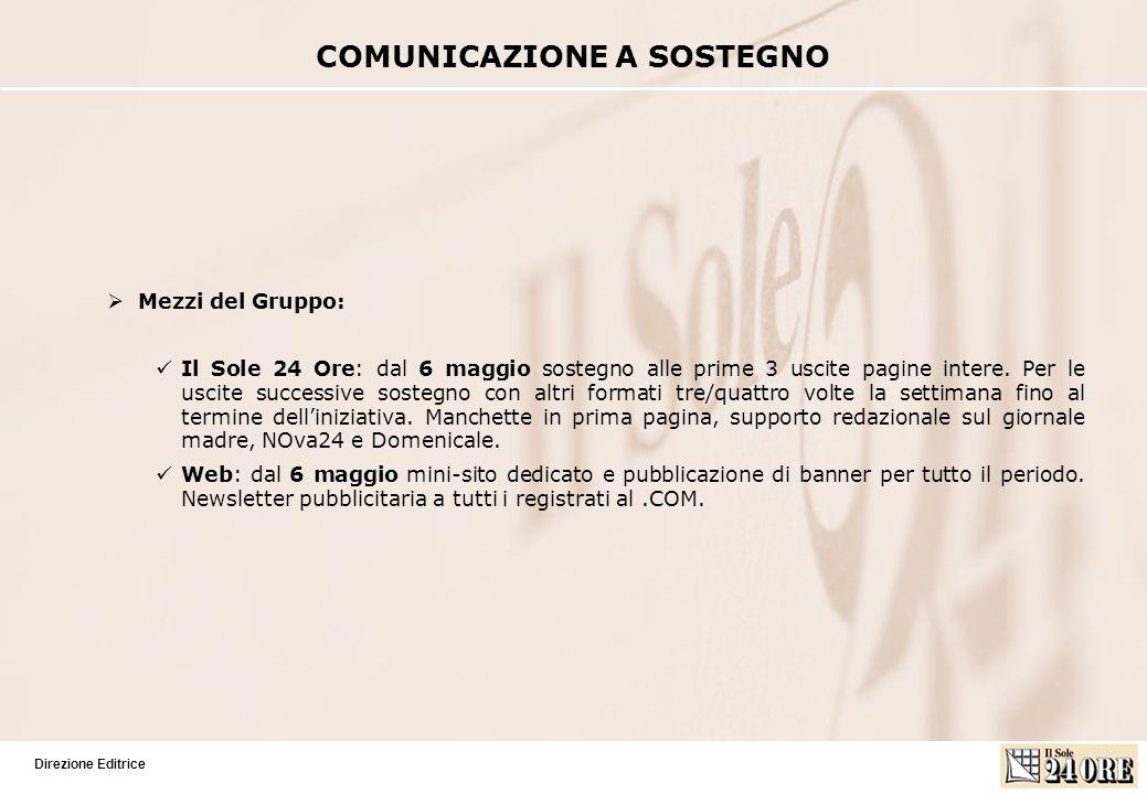 Direzione Editrice Mezzi del Gruppo: Il Sole 24 Ore: dal 6 maggio sostegno alle prime 3 uscite pagine intere.