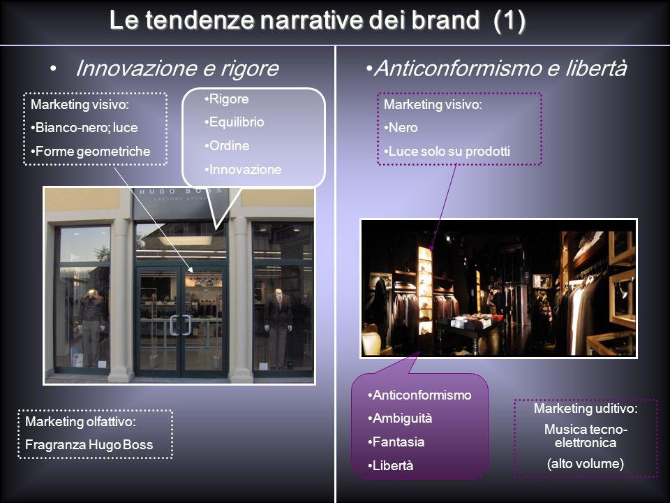 Le tendenze narrative dei brand (1) Innovazione e rigoreAnticonformismo e libertà Marketing visivo: Bianco-nero; luce Forme geometriche Marketing olfa